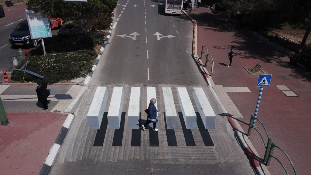 מעבר חצייה תלת מימדב ברחוב ההסתדרות הוא הפתרון החדשני להפחתה במספר תאונות הדרכים